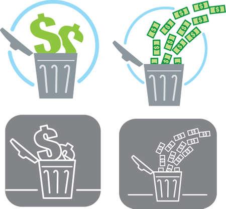 geld: Het verspillen van geld pictogram