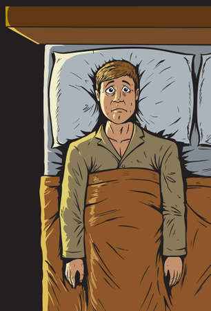 scared man: Can t sleep  Illustration