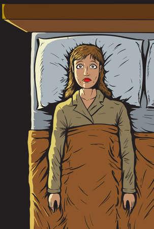 mujer acostada en cama: Chica t puede dormir Vectores