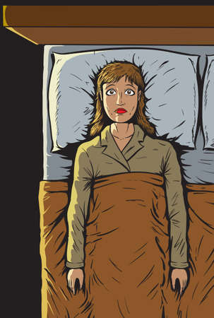 im bett liegen: M�dchen k�nnen Schlaf t Illustration