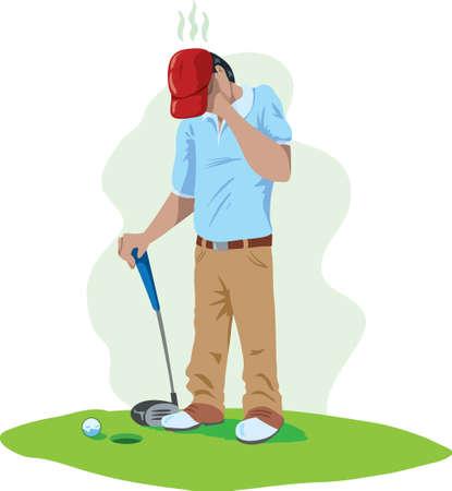 golf green: Sad golfer Illustration