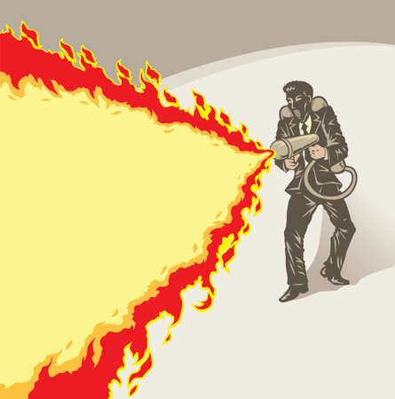 burning man: Stylized businessman with flame thrower