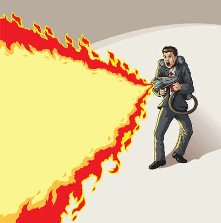 burning man: Businessman with flame thrower Illustration