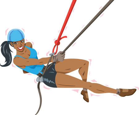 rappelling: Happy Climber