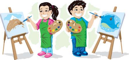 Cute kids painting Illustration