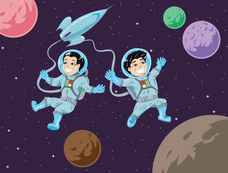 Kiddies in space Vectores