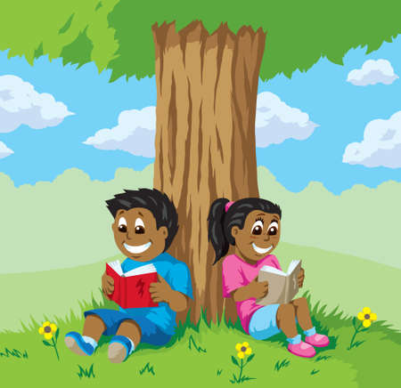indian student: Cute kids reading under a tree