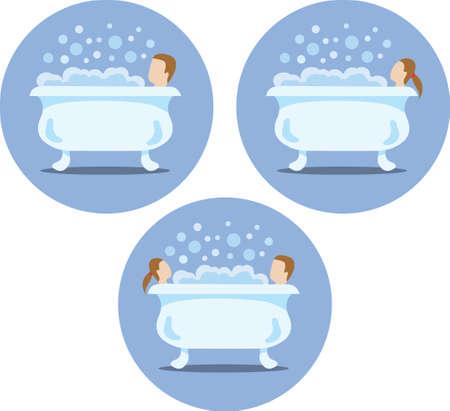woman bath: Bath tub icons
