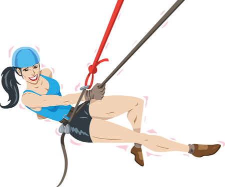 rappelling: Fit and beautiful Climber Illustration