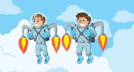 Kids with Rocket packs Vector