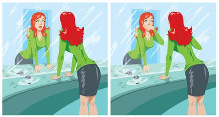 mal aliento: Chica Avergonzado Vectores