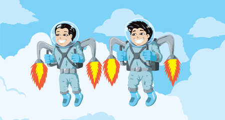 Kids flying with rocket packs