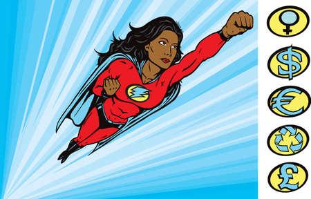 kracht: Super Heldin aan de redding Stock Illustratie