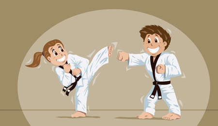 kata: Kids practicing martial arts  Illustration