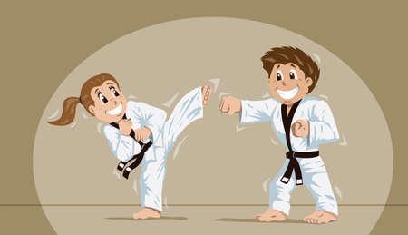 Kids practicing martial arts  Illustration