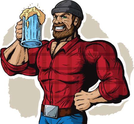 Drinken Lumberjack Stock Illustratie