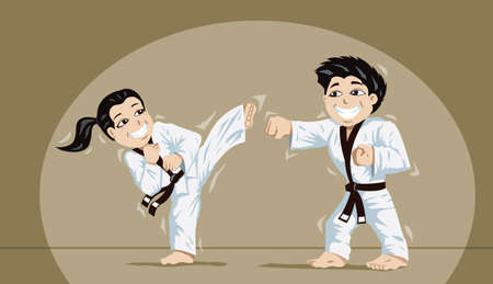 Cute kids practicing martial arts Vector