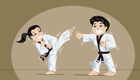 Cute ni�os que practican artes marciales