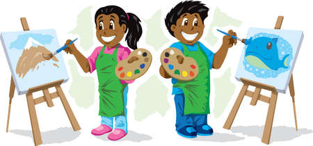 Cute Kids painting  Vector