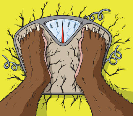breaking: Monster breaking the scale Illustration