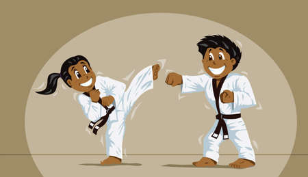 Children practicing martial arts Vector