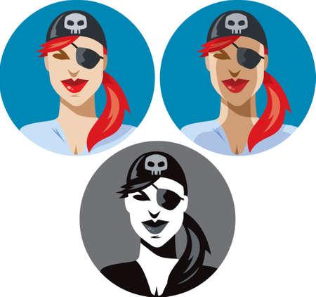 mujer pirata: Icono de mujer pirata Vectores