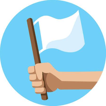 battu: Le drapeau blanc Ic�ne Illustration