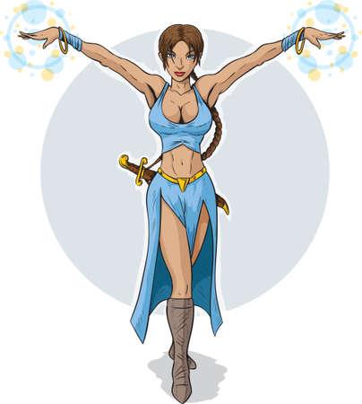 curvaceous: Beautiful Sorceress Illustration