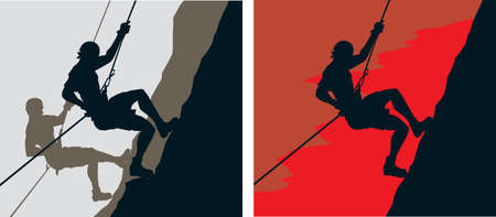 rappelling: Climbers Illustration