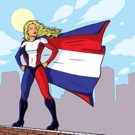 superheroine: Super French Girl  Illustration