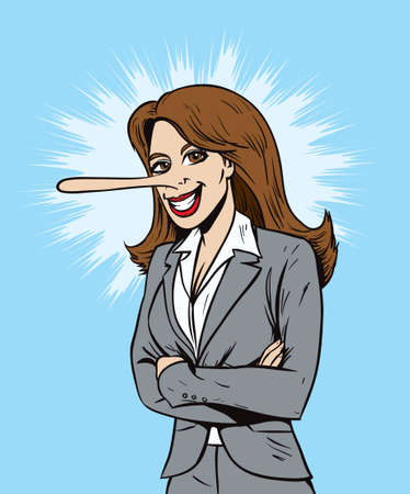 Lying salesperson or business woman  Vector