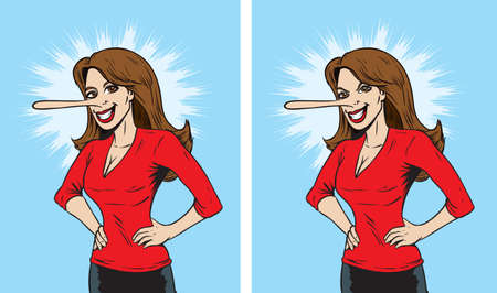 fake smile: Lying woman Illustration