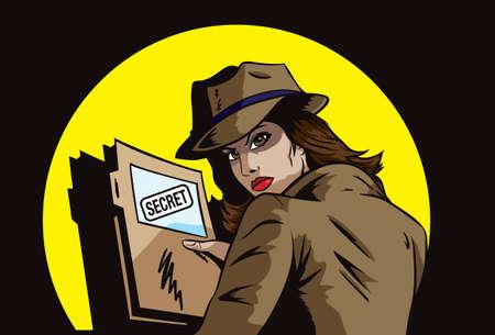 Agente secreto con planes Ilustración de vector