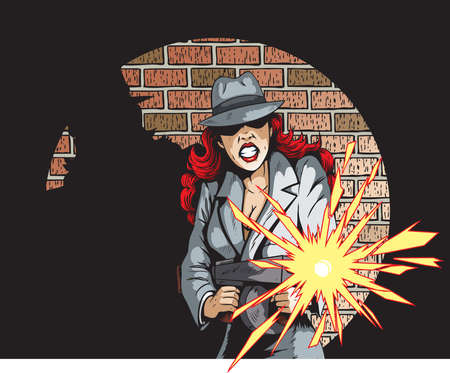 cartoon gangster: Gunning Gangster Gal Illustration