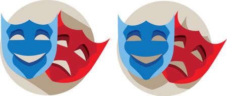 theatre masks: Theatre masks  Illustration