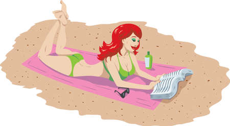 woman lying down: Girl reading book on the beach Illustration