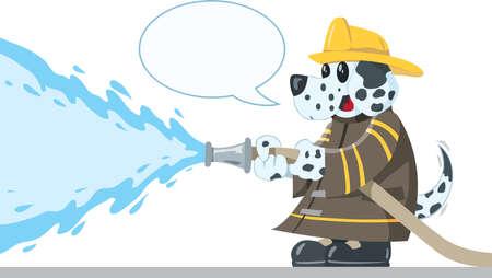 Firefighting Dog Vector