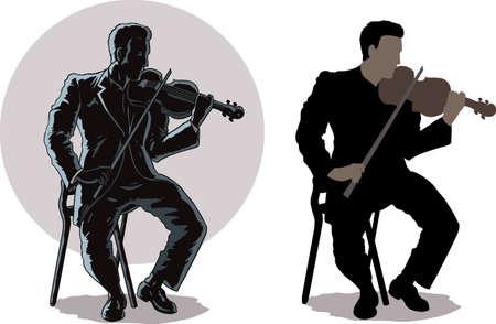 Dark violist Stock Illustratie