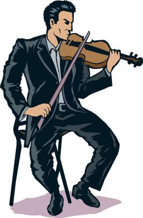 様式化されたバイオリン奏者  イラスト・ベクター素材