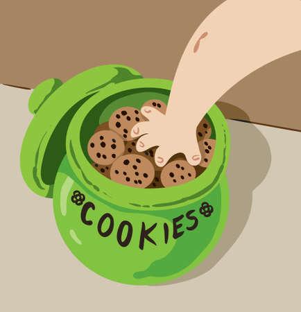 クッキー用の瓶に手します。