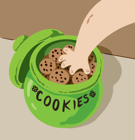 Hand in Cookie Jar Stock Illustratie