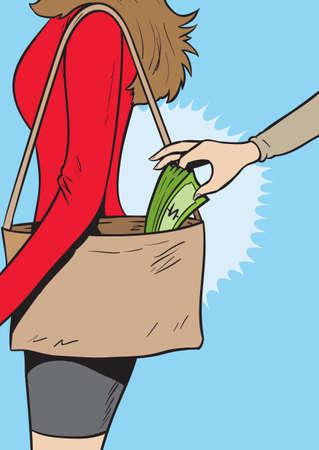 Pickpocket girl Vector