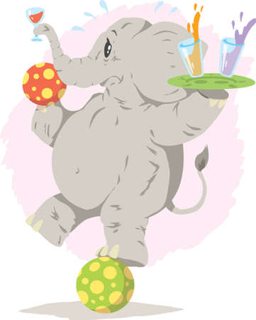 balancing act: Balancing Act elephant illustration