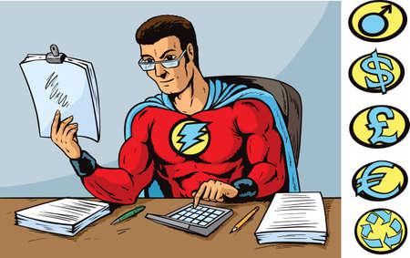 Super accountant Illustration
