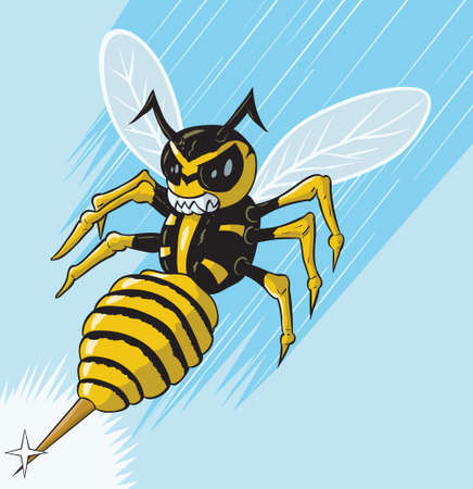 Attacking wasp Ilustrace