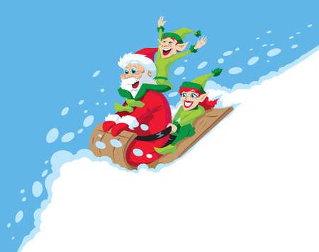 Santa Sledding Vector