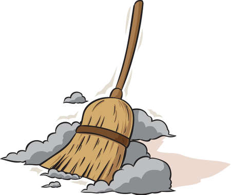 cleaning up: Sweeping Broom Illustration
