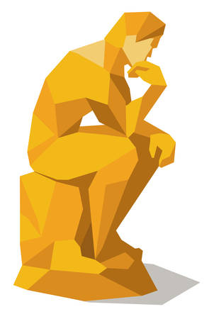 Denken Mensch im Quadrat