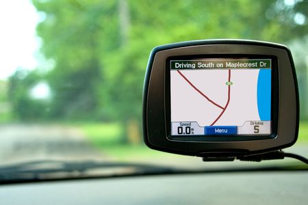 car navigation: GPS Navigation system in a travelling car. *** Note to Reviewer - The GPS  Stock Photo