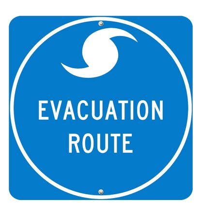 Hurricane Evacuation Sign on white background. Utilizes real road sign font for optimum quality.  Фото со стока